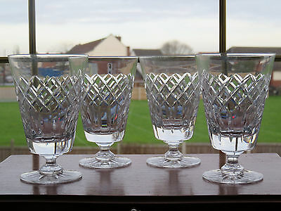 x4 Crystal Cut Glass Wine Glasses Water Goblets Unsigned