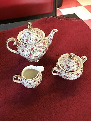 White pink Rose Chintz Teapot Tea Set cream and sugar unmarked