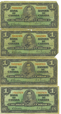 Bank of Canada 1937 $1 One Dollar Lot of 4 Notes Gordon-Towers VG/F