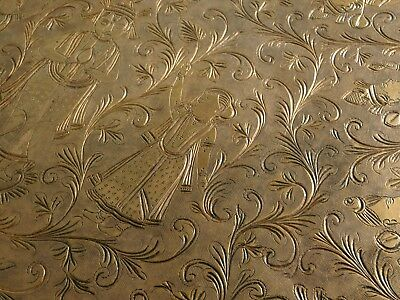 Carved Teak Folding Anglo-Indian Wine Coffee TABLE brass LARGE Engrave animals