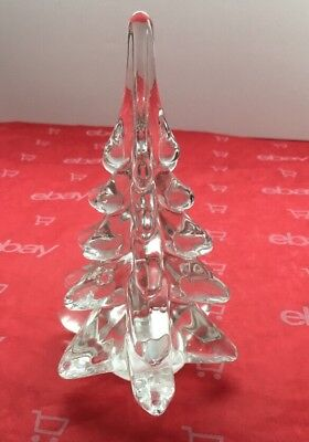 "Vintage Art Glass CHRISTMAS TREE Crystal Clear 6"" Tall Hand blown Bubbles Inside"