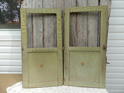 """2 Vintage antique cupboard pantry doors shabby green paints 36x18"""""""