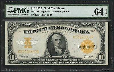 Fr1173 $10 1922 Gold Note Pmg 64 Epq -- Very Choice Unc -- Wlm4769