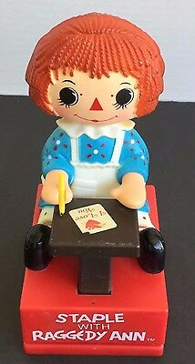 1975 Raggedy Ann Figure Desktop Stapler Staple with Raggedy Ann