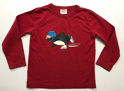 MINI BODEN Boys Red Skating Penguin Long Sleeve Shirt Size 3-4Y 3T 4T