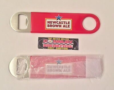 """Newcastle Brown Ale Bartenders Style Paddle Bottle Opener 7"""" Brand New In Bag!!"""