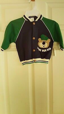 12mos New Home Run Kid Navy Blue/Green Jacket with Bear Applique