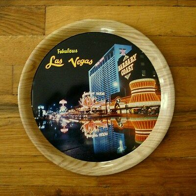 "Vintage FABULOUS LAS VEGAS 11-3/8"" Metal Tray HONG KONG Flamingo, Barbary Coast"
