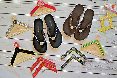 Swith flops Shoes LOT 2 pairs, black & brown shoes SZ 8 & 9 different straps, M