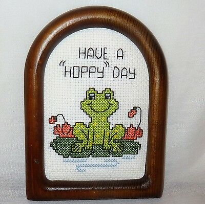 "New Frog Picture Plaque Have a Hoppy Day Finished Cross Stitch Handmade 6"" Smile"