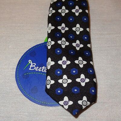 "New Floral Clips Back of Neck Tie Necktie 8"" Beetle & Thread 100% Polyester"
