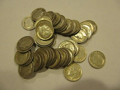 Nice! Roll Of Fifty (50) Unsearched Circulated Roosevelt Silver Dimes Free Ship!