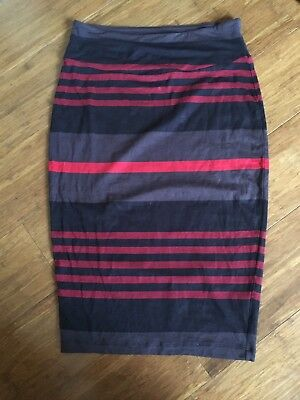 As new Ripe Maternity red black stretchy striped tube skirt XS fit 8-12
