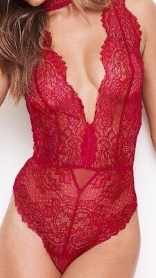 Victoria's Secret Red Choker Plunging Neckline Lace & Mesh Teddy Size Large