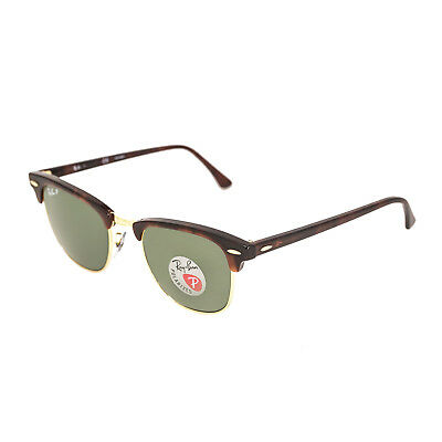 RAY-BAN CLUBMASTER SUNGLASSES Tortoise Frame With POLARIZED Green Lens 51MM