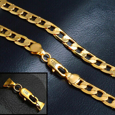 18k Yellow Gold Necklace Mens Womens Wide 8mm Bold Cuban Link Chain w GiftP D262