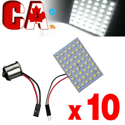 10X HID White Car RV Trailer 1156 BA15S Adapter +48-SMD Dome Map Panel LED Light