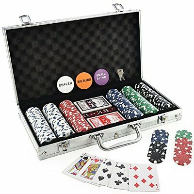 Casino Poker Chips Set of 300 2 Decks of Cards Dealer Button & 2 Blind Buttons