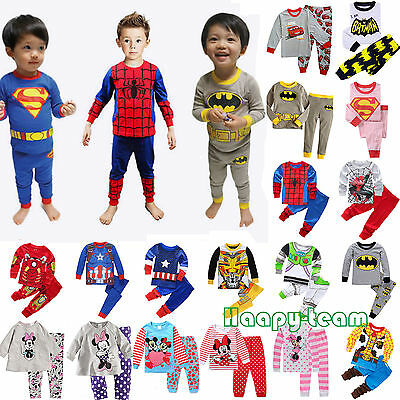 Cartoon Sleepwear Baby Kids Boys Girls Cotton Nightwear Pj's Pyjamas 2pcs Sets