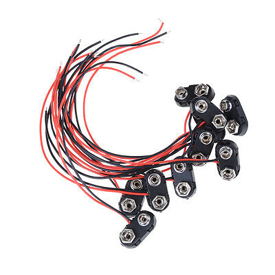 10pcs Brand New 9V Battery Snap Connector clip Lead Wires holder T Type FT