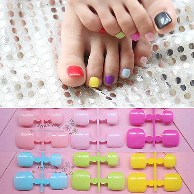 False Toe Nails 12 Pcs Multi-Coloured Artificial Toe Nail Short Full Cover Nails