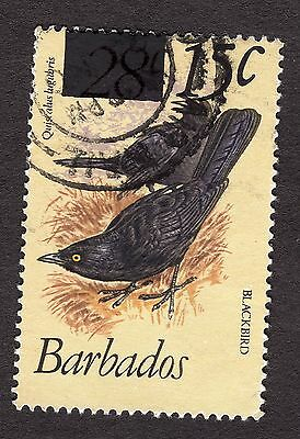 1981 Barbados 28c Carib grackle OPTD 15c SG682 VERY GOOD USED R31429