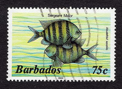 1986 Barbados 75c Sergeant major FINE USED R31876
