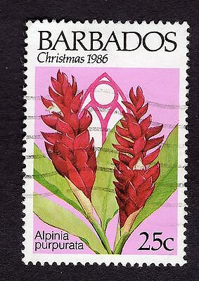 1986 Barbados 25c Alpinia purpurata Christmas SG 824 FINE USED R31878