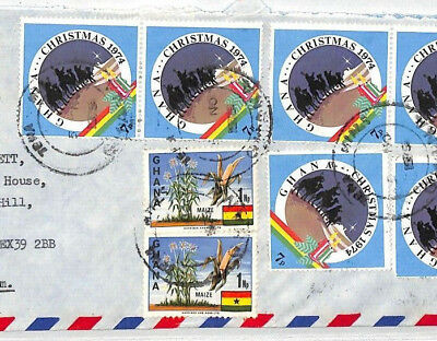 BT280 1974 Ghana *TEMA* Skeleton CDS Commercial Air Mail Cover {samwells}