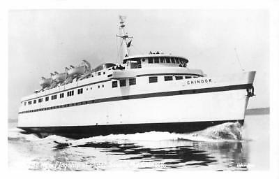 "RPPC M.V. CHINOOK ""New Flagship of Puget Sound"" WA Ferry c1950s Vintage Postcard"