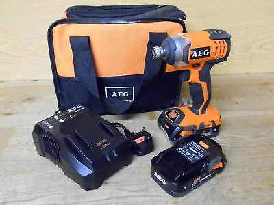 AEG BSS 18 C 18V Cordless Impact Wrench Driver with 2x Batteries & Carry Bag