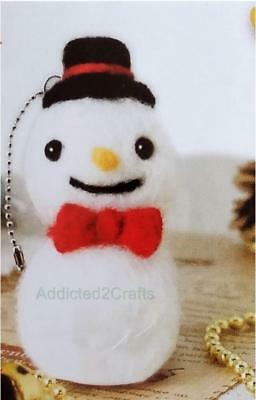 Needle Felting Kit Christmas Snowman JAPANESE Wool fibre + Needle + eyes + chain