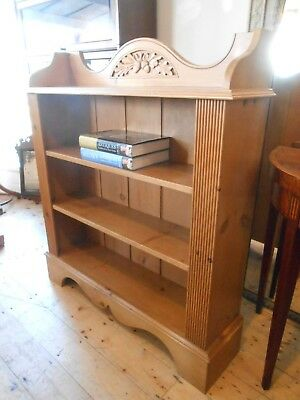 Solid Pine Open Bookcase with Oak Leaf Carved Detail to the Top