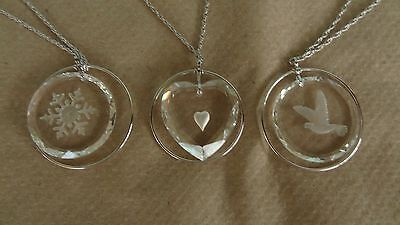 Vintage Lot of 3 Hallmark Little Gallery Lead Crystal Pendants Necklace NEW