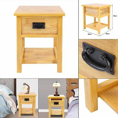 Oak Bedside Tables Unit Cabinet Nightstand Corona with 1 Drawer and Shelf Brown