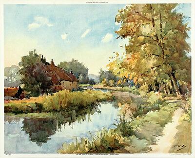 NICOLAS MARKOVITCH / Marc Vintage c1930s-40s Chromolithograph FARM BY THE RIVER