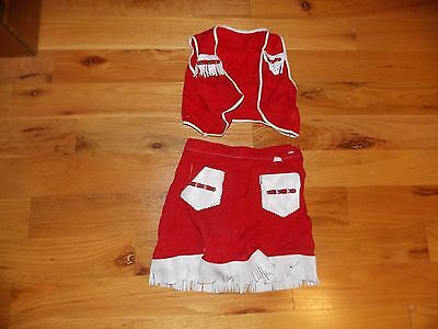 Cow Girl Outfit Vintage Red with White Vinyl Metal Studs Size 3 Halloween