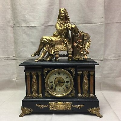 Antique 19th c French Empire mantle figural clock ormolu gilt bronze and wood