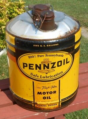 Pennzoil  Motor Oil 5 gallon metal can ADVERTISING 18.927 Liter  can