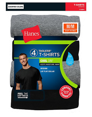 4 Pk Hanes Mens TAGLESS Crewneck T Shirt Undershirt Assorted Colors