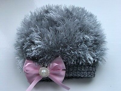 Hand Knitted Baby Girls Grey Eyelash  Wool with Pink Bow  Beanie Hat 3 - 6  Mths