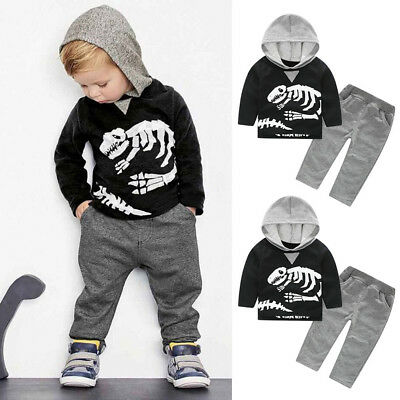 Toddler Kids Baby Girls Boys Dinosaur Bones Clothes Set Hooded Tops+Pants Outfit