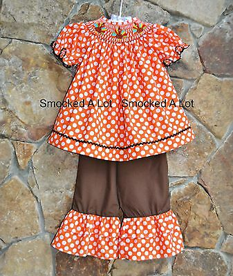 0a9f28e3f Smocked A Lot Dot Turkey Thanksgiving Orange Brown Ruffled Pants Outfit  Dress