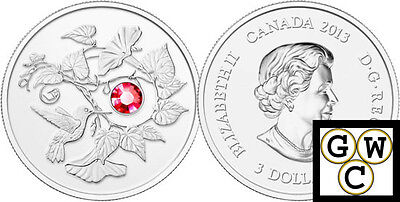 2013 Proof $3 Hummingbird & Morning Glory Crystalized Silver Coin .9999(13139)NT