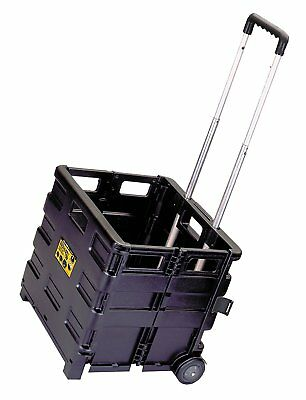 Folding Wheeled Crate Carrier Carry Cart Sturdy Storage Rolling Collapsible Case