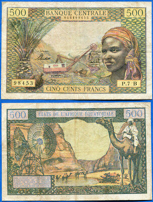 EQUATORIAL AFRICAN STATES-CHAD 500 FRANCS ND 1963 P-4a F+ US-Seller