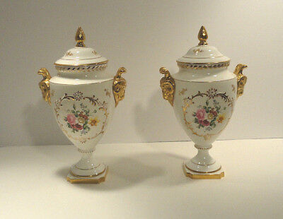 Coalport Urn with Ram Head Handle Floral Motif Set of Two