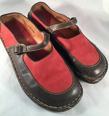 Womens BORN Sz 8 39 Red  Leather Suede Buckle Mary jane Shoes  CUTE!!