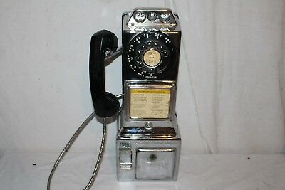 Vintage 1950's Automatic Electric Chrome Dial Payphone Pay Phone Sign Telephone