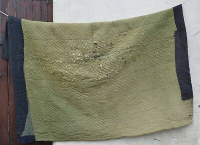 Vintage Antique Heavy Hand Sewn Green Plain Rare Welsh Quilt Wool Lined